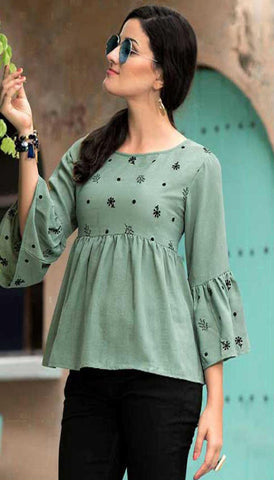 Olive Green Cotton Blend Casual Stylish Women Kurti Kurta