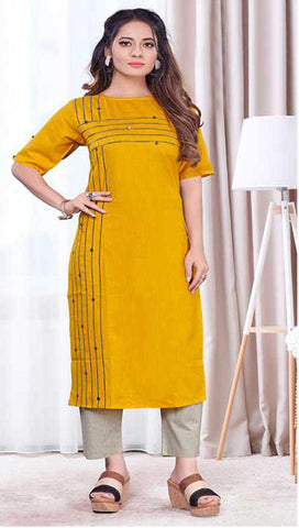 Yellow Cotton Blend Casual Stylish Women Kurti Kurta
