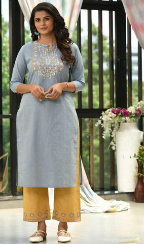 Sky Blue & Light Yellow Cotton Blend Casual Stylish Embroidery Women Long kurti with Straight Pant Set