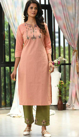 Peach & Light Green Cotton Blend Casual Stylish Embroidery Women Long kurti with Straight Pant Set