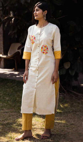 Off White & Yellow Cotton Blend Casual Stylish Women Kurti Kurta