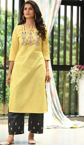 Yellow & Black Cotton Blend Casual Stylish Embroidery Women Long kurti with Straight Pant Set