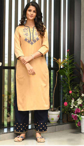 Light Orange & Black Cotton Blend Casual Stylish Embroidery Women Long kurti with Straight Pant Set