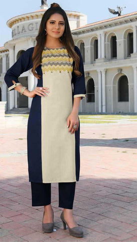 Blue & White Cotton Blend Casual Stylish Women Kurti Kurta