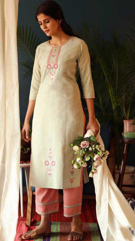Off White & Peach Cotton Blend Casual Stylish Embroidery Women Long kurti with Straight Pant Set