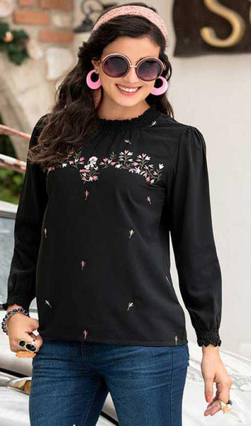Black Cotton Blend Casual Stylish Embroidery Women Kurti Kurta