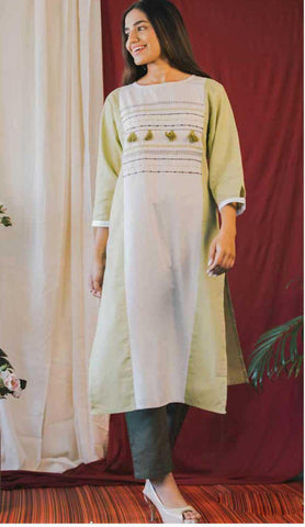 Light Green Cotton Blend Casual Stylish Women Kurti Kurta