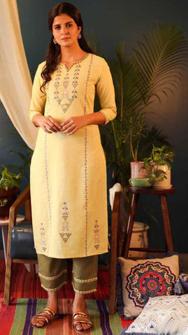 Yellow & Green Cotton Blend Casual Stylish Embroidery Women Long kurti with Straight Pant Set