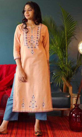 Orange & Blue Cotton Blend Casual Stylish Embroidery Women Long kurti with Straight Pant Set