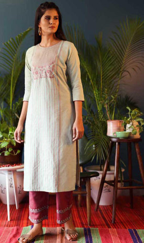 White & Pink Cotton Blend Casual Stylish Embroidery Women Long kurti with Straight Pant Set