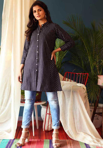 Blue Cotton Blend Casual Stylish Embroidery Women Top Tunic