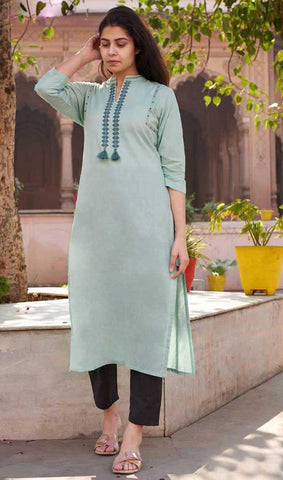 Light Seagreen Cotton Blend Casual Stylish Women Kurti Kurta