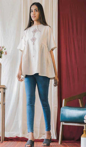 Off White Cotton Blend Casual Stylish Embroidery Women Top Tunic