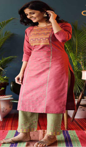 Pink & Light Green Cotton Blend Casual Stylish Embroidery Women Long kurti with Straight Pant Set