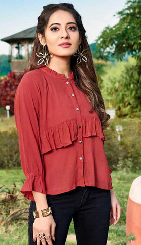 Red Cotton Blend Casual Stylish Embroidery Women Top Tunic