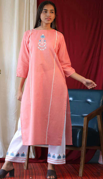 Peach & White Cotton Blend Casual Stylish Embroidery Women Long kurti with Straight Pant Set