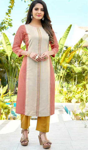 Peach Cotton Blend Casual Stylish Women Kurti Kurta