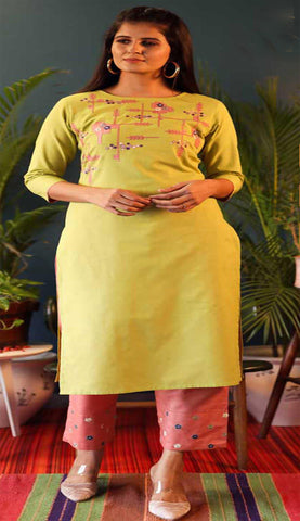 Yellow & Peach Cotton Blend Casual Stylish Embroidery Women Long kurti with Straight Pant Set