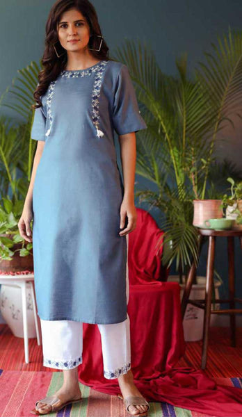 Sky Blue & White Cotton Blend Casual Stylish Embroidery Women Long kurti with Straight Pant Set