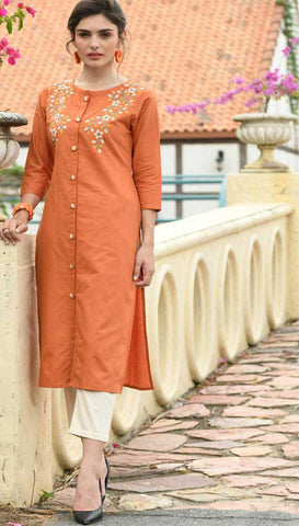 Orange Cotton Blend Casual Stylish Women Kurti Kurta