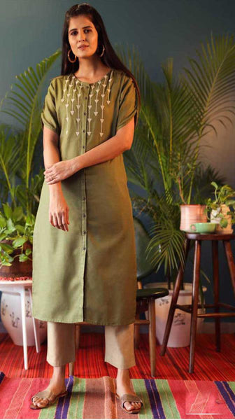 Olive Green & Off White Cotton Blend Casual Stylish Embroidery Women Long kurti with Straight Pant Set