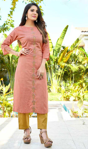 Light Peach Cotton Blend Casual Stylish Women Kurti Kurta