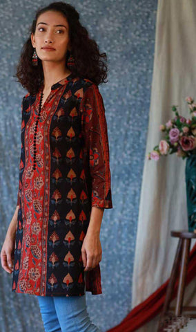 Multi-Colour Cotton Blend Casual Stylish Embroidery Women Top Tunic