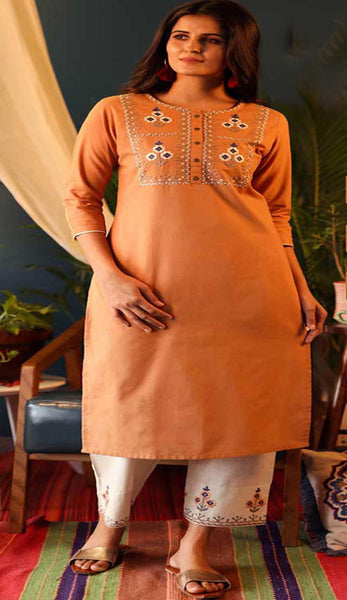 Orange & Off White Cotton Blend Casual Stylish Embroidery Women Long kurti with Straight Pant Set