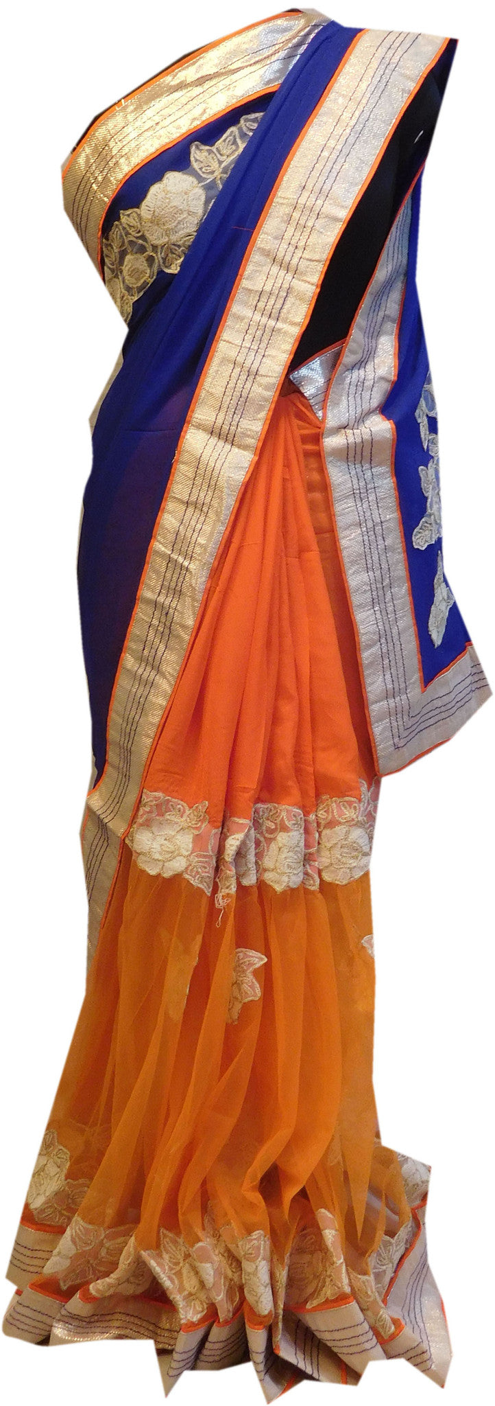 Blue Orange Designer Saree