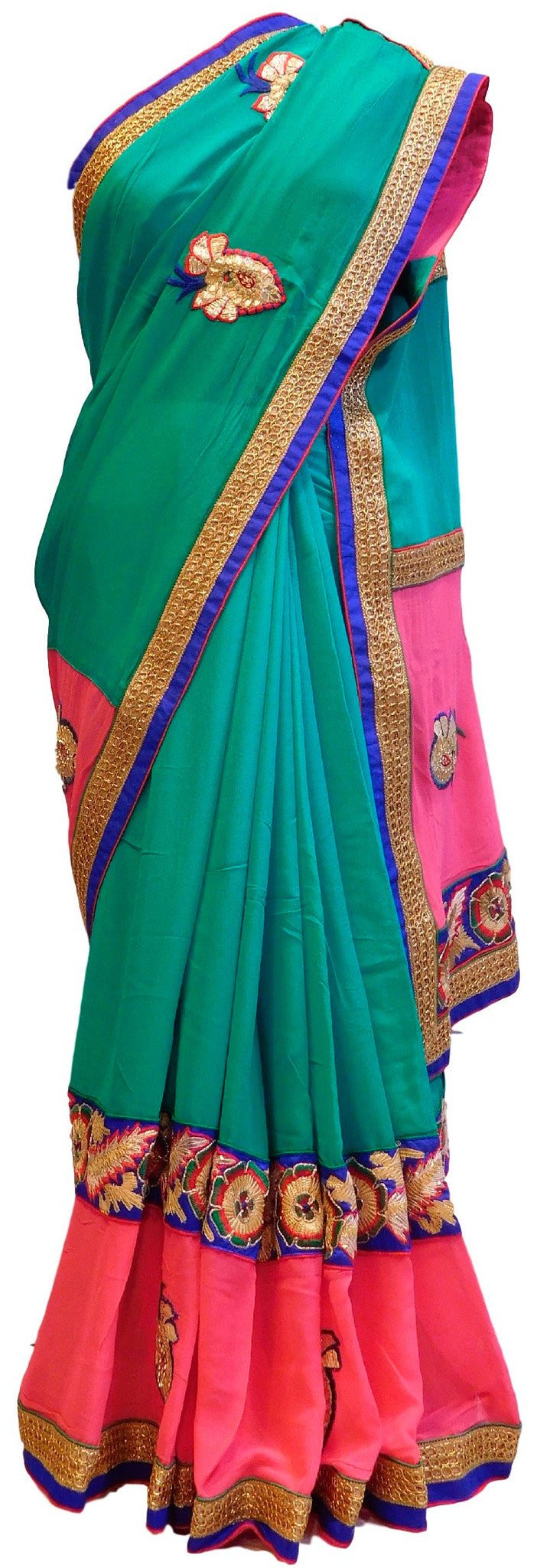 Pink & Sea Green Designer Georgette (Viscos) Hand Embroidery Thread Zari Gota Bullion Stone Saree Sari