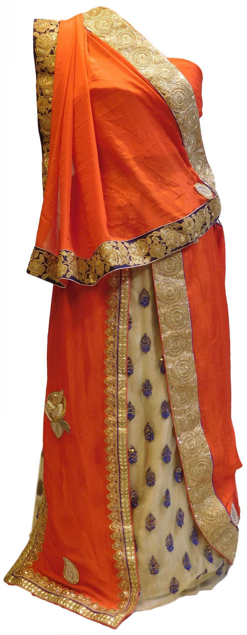 Orange & Cream With Lahenga Crepe Georgette Saree