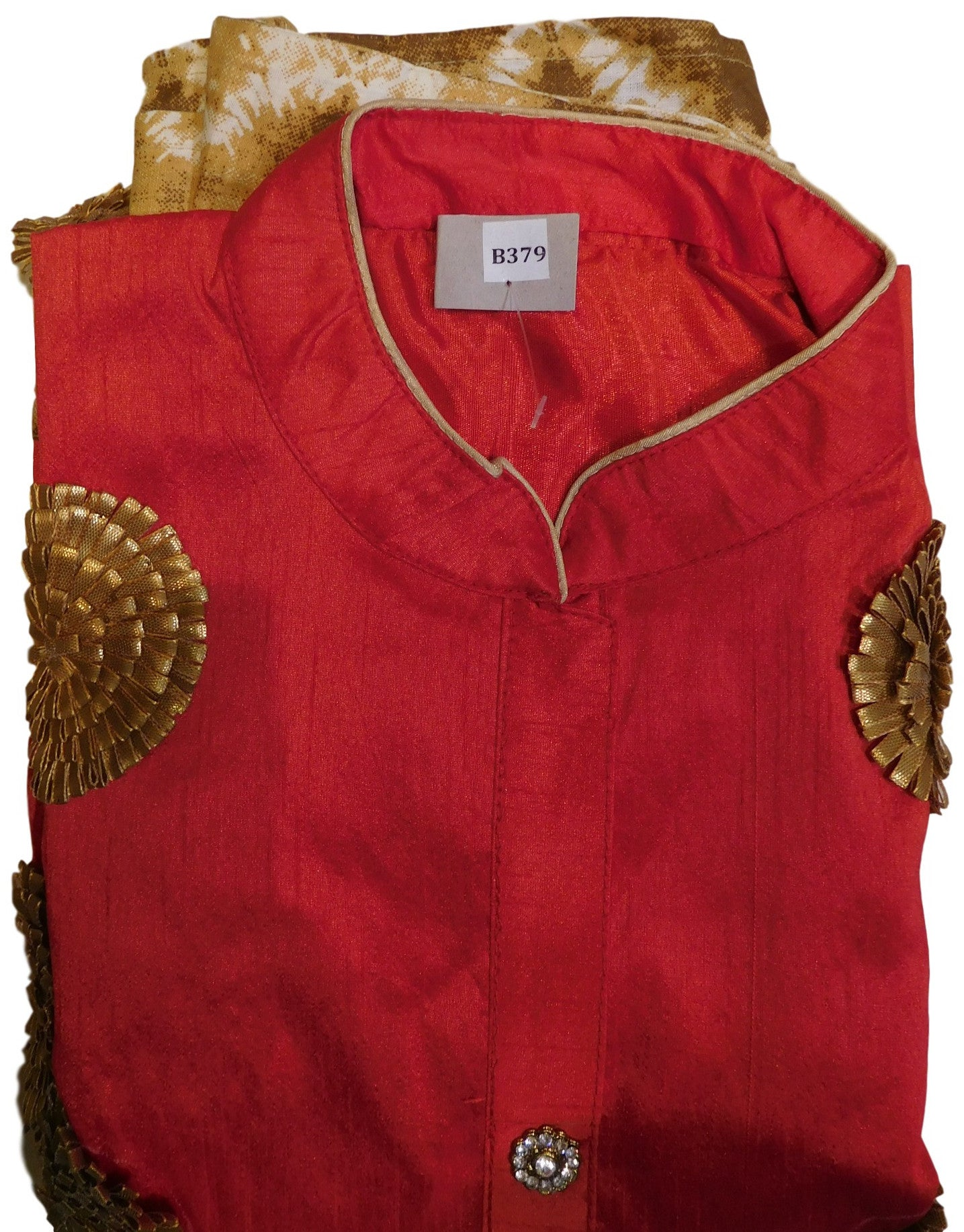 Red Designer Cotton (Chanderi) Kurti