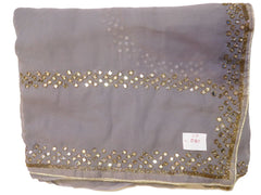 Grey Designer Georgette (Viscos) Hand Embroidery Mirror & Cutdana Work Saree Sari