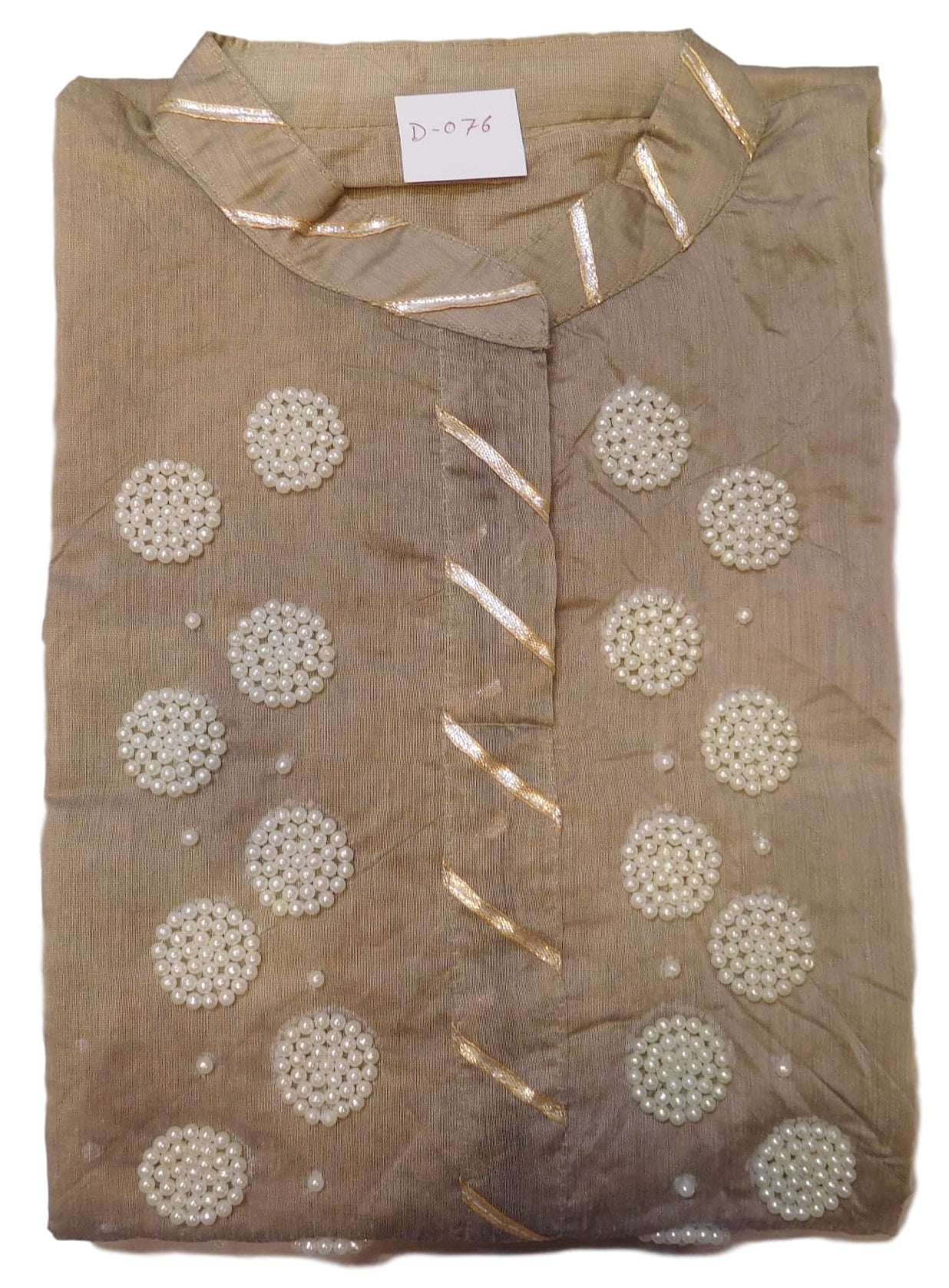 Grey Designer Cotton (Chanderi) Hand Embroidery Gota Pearl Work Kurti Kurta