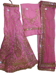 Baby Pink Designer Bridal Hand Embroidery Gota Work Pure Raw Silk Lahenga With Net Dupatta & Pure Raw Silk Blouse
