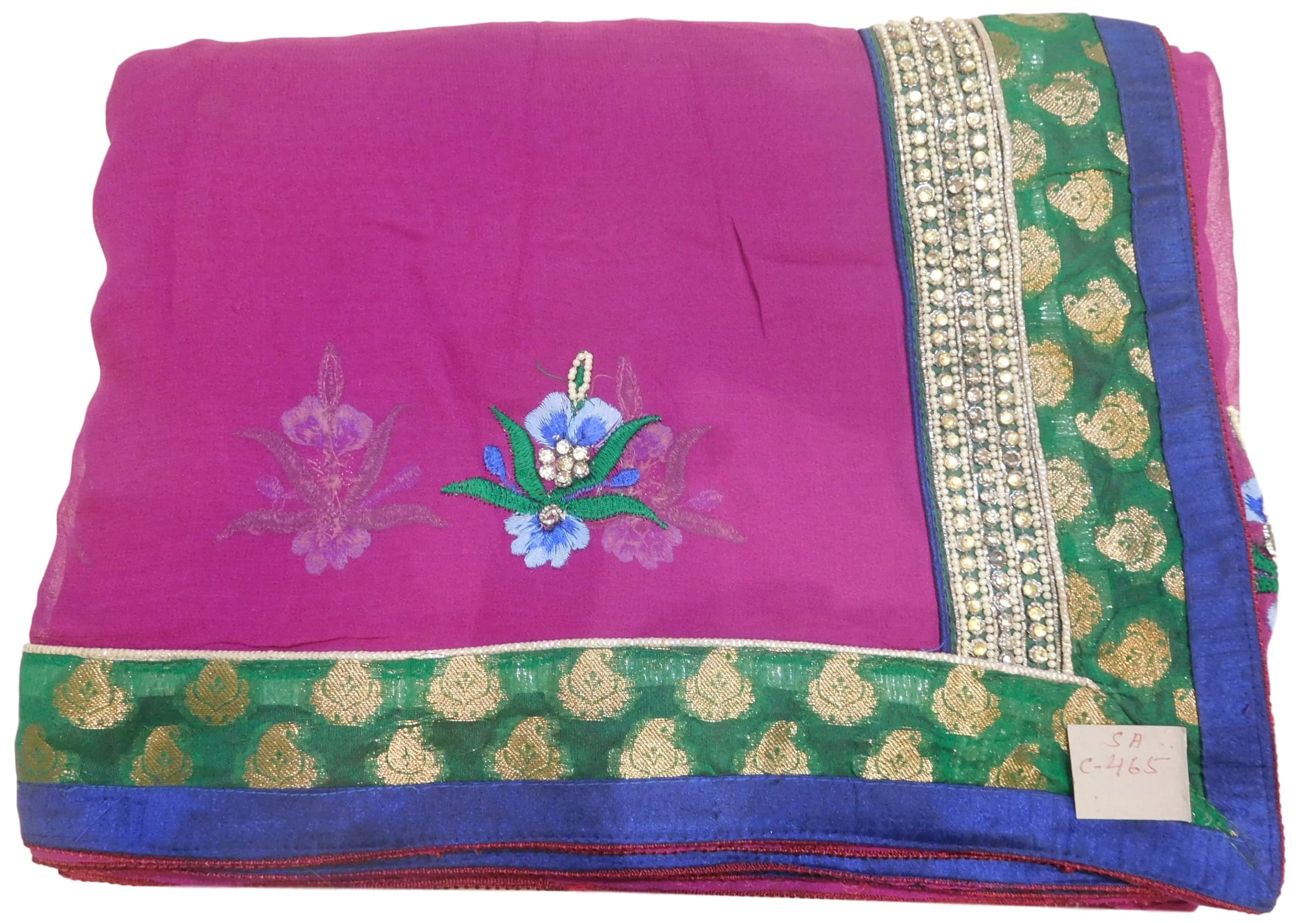 Wine Designer Georgette (Viscos) Hand Embroidery Zari Pearl Stone Thread Bullion Work Saree Sari