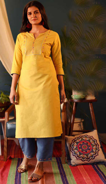 Yellow & Blue Cotton Blend Casual Stylish Embroidery Women Long kurti with Straight Pant Set