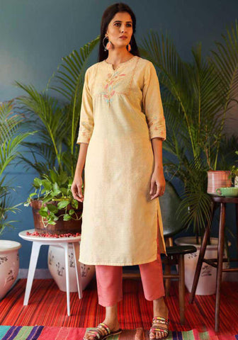 Light Yellow Cotton Blend Casual Stylish Women Kurti Kurta