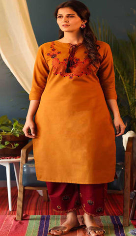 Orange & Red Cotton Blend Casual Stylish Embroidery Women Long kurti with Straight Pant Set