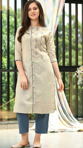 Off White Cotton Blend Casual Stylish Women Kurti Kurta