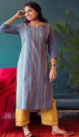 Light Violet & Yellow Cotton Blend Casual Stylish Embroidery Women Long kurti with Straight Pant Set