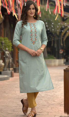 Sky Blue Cotton Blend Casual Stylish Women Kurti Kurta