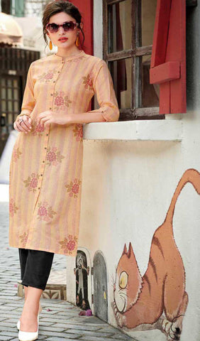 Multi Colour Cotton Blend Casual Stylish Women Kurti Kurta