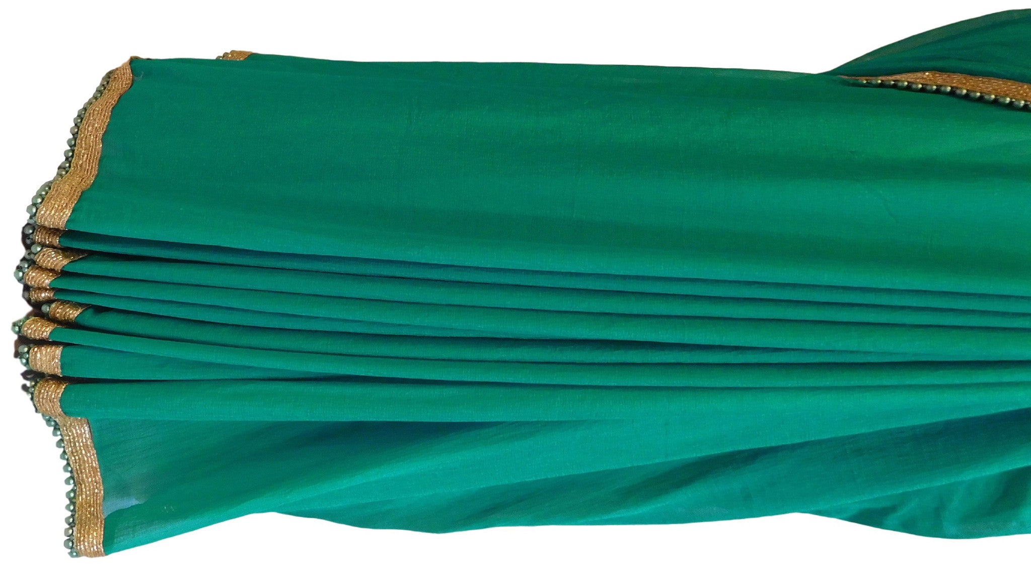 Turquoise Designer Chiffon Saree With Stylish Blouse