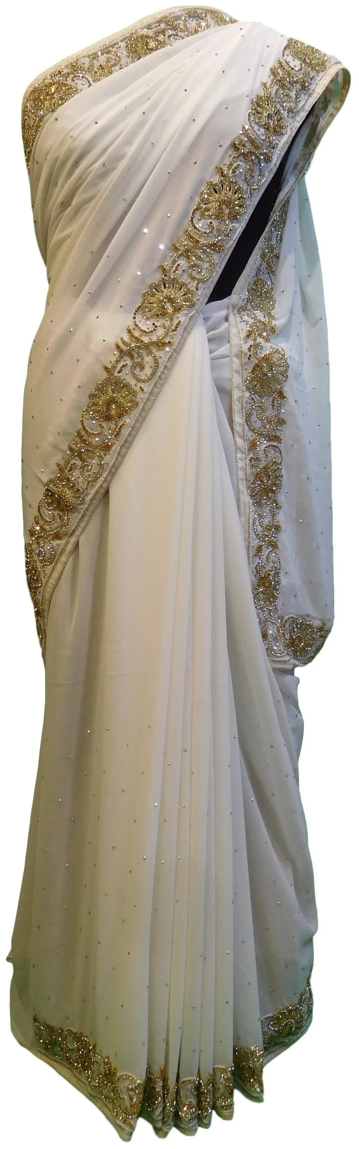 White Designer Gerogette (Synthetic) Hand Embroidery Stone Border Sari Saree