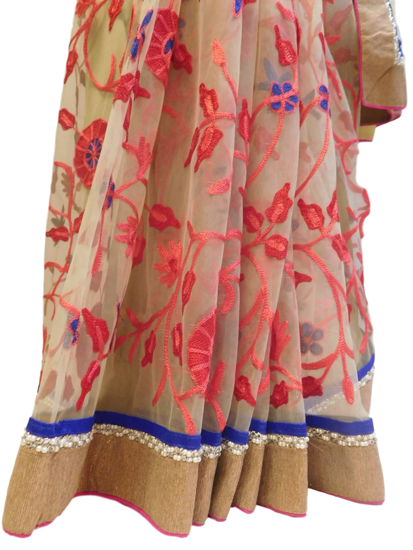 Cream & Red Designer Georgette (Viscos) & Net Hand Embroidery Work Half Half Saree Sari