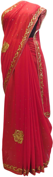 Red Designer Georgette Hand Embroidery Cutdana Thread Stone Work Saree Sari