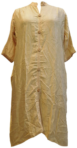 Beige Designer Cotton (Rayon) Solid Colour Kurti Kurta