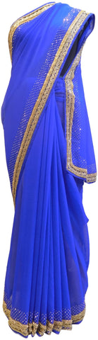 Blue Designer Georgette Hand Embroidery Cutdana Beads Stone Work Saree Sari