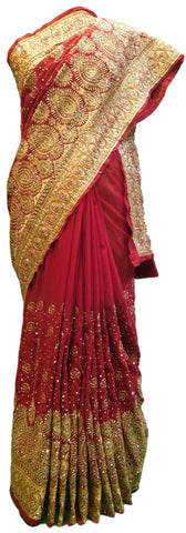 Merron Bridal Jhalak Gerogette (Synthetic) Hand Embroidery Stone Border Sari Saree